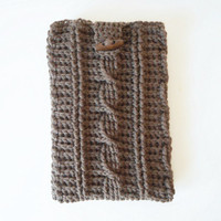 Cable Stitch iPad Mini or e-Reader Cozy in Taupe, ready to ship.