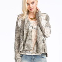 Poof Excellence Marled Womens Open Knit Wrap Black Combo  In Sizes
