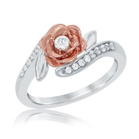 DreamJewels Disney Belles 14K Rose and White Gold Plated White CZ Diamond Fashion Ring 1/4ctw
