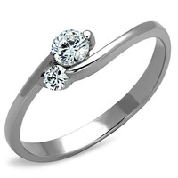 Stainless Steel Split Band Friendship Engagement/Promise Ring