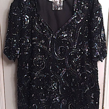 Vintage 80's Sequin & Bead Embellished Laurence Kazar of New York Silk Shell Top, XL Sweetheart Neckline Scalloped Hem and Short Sleeves