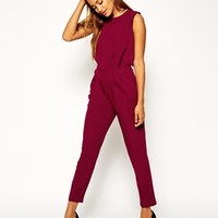 ASOS Jumpsuit with Open Back and Pleated Detail at asos.com