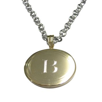 Gold Toned Etched Oval Letter B Monogram Pendant Necklace