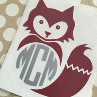 Fox Monogram Decal   Southern Fox Lady Monograms   Southern Charm Decals   Country Girl Decal   Truck Decal   Southern Decal   Preppy Decal