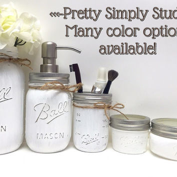 White Farmhouse Mason Jar Bathroom Set,Ball Mason Jars,Home Decor,Rustic Bathroom Set,Country Chic,Southern Decor,Wedding Gifts,Housewarming