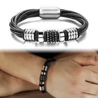 Awesome Gift New Arrival Hot Sale Shiny Great Deal Stainless Steel Korean Stylish Men Leather Bracelet [10783256963]