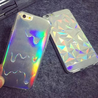Fashion 3D Diamond Bling Laser Melting Rainbow Transparent Cover Case for Apple iPhone 5 5S 6G 6 plus Cell Phone Cases
