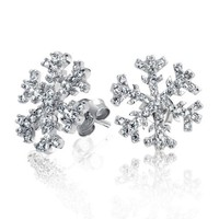 Bling Jewelry Winter Snowflake Micro Pave CZ Stud Earrings 925 Sterling Silver