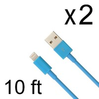 Toplus(TM) Blue 2 PCS 10 FT 3 M Extra Long 8 Pin to USB 3 Meter Sync Transfer Data and Charger Cord Wire for iPhone 6 plus, iPhone 6, iPhone 5s 5c 5, iPad Air, iPad mini, iPad mini 2, iPad 4, iPod 5, and iPod Nano 7. (10 feet, 3 meter)