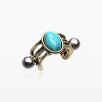 zzz-Vintage Golden Turquoise Uladi Rope Cartilage Ear Cuff