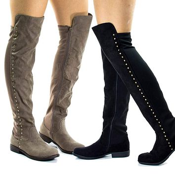 Montana71s By Bamboo, Faux Suede Elastic Equestrian Riding Boots w Metal Stud Detail