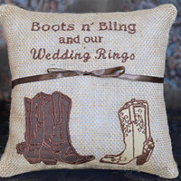 Boots n' Bling and Our Wedding Rings Country Western Rustic Cowboy Brown Boots Burlap Ring Bearer Pillow