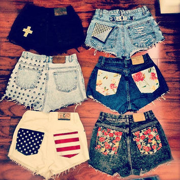 high waisted shorts custom made to order by DistressedWithLove