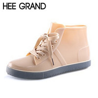 HEE GRAND Lace-Up RainBoots Fashion Solid Flat Ankle Rain Boots Casual Silver Women Flats Shoes Woman 4 Color Size 35-40 XWX3072