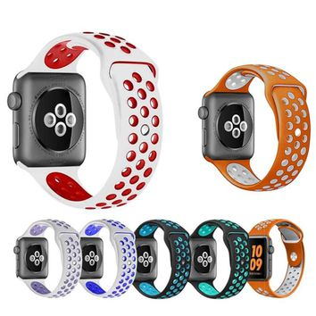 2018 Fashion Soft Silicone Band for Apple Watch iWatch Series 1 2 3 Sport Bracelet Replacement Wrist Watch Bands 42mm 38mm