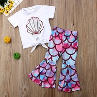 Summer Clothes For Kids T Shirt Mermaid Flared Pants Set