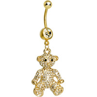 Crystalline Gem Paved Gold Plated Tiny Teddy Bear Dangle Belly Ring | Body Candy Body Jewelry