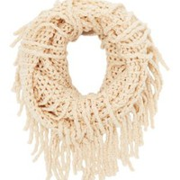 Blush Open Knit Infinity Scarf with Fringe by Charlotte Russe