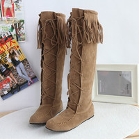US4-11 womens Tassel Moccasin Knee High Boots Pull On Flat Heel Roman faux suede