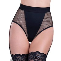 HIGH WAISTED FISHNET PANTY & GARTERS OH LA LA (OH6296)