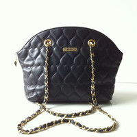 Vintage Moschino Quilted Heart Leather Cross Body Chain Bag
