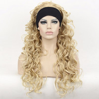 Golden Blonde Long 3/4 Women's Wigs Hairpiece Wavy Hair Piece with Headband Free shipping