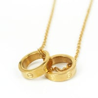 Fashion silver rose gold double screw love rings pendant necklace 316L stainless steel two circle rings necklace jewelry SP00056