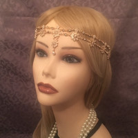 20's style GOLD Pearl Flower Cluster Drop Boho Indian Princess Gatsby Headchain 1920s head chain Gypsy Belly Dancer headpiece 20s headband