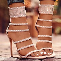 Fashion women's sandals new style hot-drilled open-toed fine-heeled super high-heeled nightclub shoes