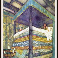 """Vintage Art Print Wall Decor Nursery Print """"The Princess and the Pea"""" by Edmund Dulac, 8.5 x 11, Reproducttion Unframed"""