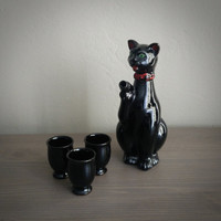 Shafford redware cat teapot and small teacups, cat tea pot, small black tea cups, Japanese tea. Sake set, black cat Japan
