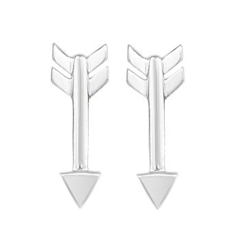 Sterling Silver With Rhodium Finish Arrow Style Stud Earrings