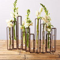 Lavoisier Set of 10 Hinged Flower Vases with Antiqued Rusted Finish - Metal