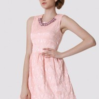 Pink Bud Dress with Diamond Collar