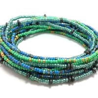 Seed bead wrap stretch bracelets, stacking, beaded, boho anklet, bohemian, stretchy stackable multi strand, teal green blue gold hematite