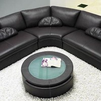 Modern Black Leather Sectional Sofa with Coffee Table