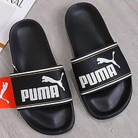 PUMA new large letter printing logo couple models men and women casual sandals beach slippers Shoes Black