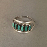 Vintage NATIVE American Sterling Silver ZUNI Ring TURQUOISE Petit-Point Gemstones Size 6.5 c.1970's