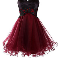 Wine Red Tulle Short Prom Gown MIni Burgundy Homecoming Dresses