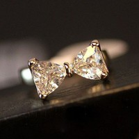 Simply Bow Rhinestone Ring (Wide Band)
