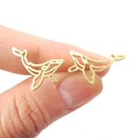 Realistic Humpback Whale Silhouette Animal Stud Earrings in Gold   DOTOLY