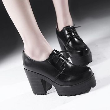 Lace Up Chunky Heels Platform Ankle Boots 7864