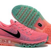 """""""Nike Air Max Flyknit"""" Women Sport Casual Rainbow Flywire Weave Air Cushion Sneakers Running Shoes"""