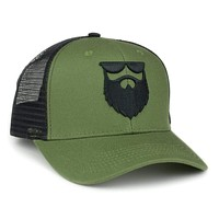 OG Beard Logo Mesh Trucker - Army Green
