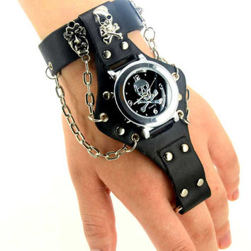Wrist and Finger Bracelet with Watch