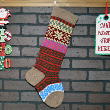 Striped Christmas Stocking, Hand Knit with Soft Taupe Cuff, and Soft Fern Green  Snowflake, can be personalized, Wedding Gift, Housewarming
