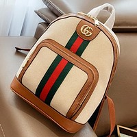 Hipgirls GUCCI New fashion stripe canvas leisure handbag backpack bag