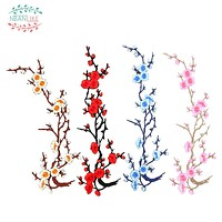 1PCS Plum Blossom flower sew Iron On patches for clothing Applique Embroidery for clothes Sticker Sewing patch Repair Accessory