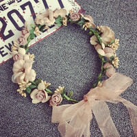 Romantic Flowers and Pearls Garland Hair Accessories Ivory Wedding Headdresses Hats for Women Hand Made Linen Ribbon Precious