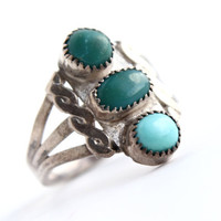 Vintage Sterling Silver Turquoise Ring - Size 5 1/2 Native American Boho Jewelry / Tri Green & Teal